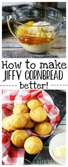 How to Make Boxed Cornbread Mix Better! - Accidental Happy Baker How to Make Boxed Cornbread Mix Better! - Accidental Happy Baker How to make Jiffy cornbread better! Jiffy Recipes, Jiffy Cornbread Recipes, My Recipes, Cooking Recipes, Favorite Recipes, Sweet Jiffy Cornbread, How To Make Cornbread, Homemade Cornbread, Jiffy Cornbread Recipe With Sour Cream