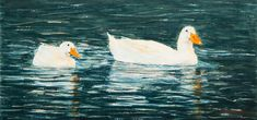 """White ducks swimming"" by Justine Cadman. Paintings for Sale. Animal Paintings, Paintings For Sale, Watercolour Paintings, Watercolor, Dont Fall In Love, White Ducks, Buy Art Online, Australian Artists, Online Art Gallery"