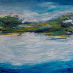 """Tranquil Day by Kajal Zaveri-30"""" X 30' Oil painting available for sale on Ugallery"""