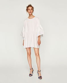 T-SHIRT WITH RUFFLED FRONT-Long Sleeve-T-SHIRTS-WOMAN   ZARA United States