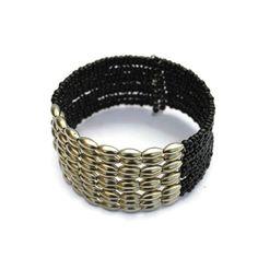 Dark Silver Black Wire Wrapped Beaded Handamade Bracelet Jewelry Women Gifts For Her Thick Bracelets Birthday Gift Boho Bohemian Beach Love