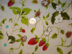 Strawberries and flowers on whtie Cotton Ribbed Knit by nrfabrics, $7.50