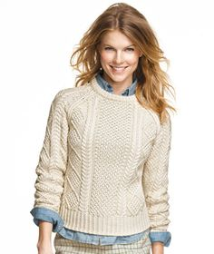 Cotton Fisherman Sweater from L.L.Bean. Completely, absolutely want this. Just as soon as it's back in stock.