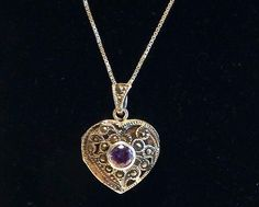 Marcasite Sterling Silver Amethyst Heart Locket Pendant Necklace 925 Sterling - Italian Box Chain Purple Gemstone Beautiful Vintage Jewelry by FourthEstateSale on Etsy https://www.etsy.com/listing/398903723/marcasite-sterling-silver-amethyst-heart