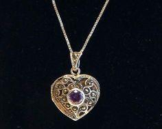 Marcasite Sterling Silver Amethyst Heart Locket Pendant Necklace 925 Sterling - Italian Box Chain Purple Gemstone Beautiful Vintage Jewelry by FourthEstateSale on Etsy https://www.etsy.com/listing/398903723/marcasite-sterling-silver-amethyst-heart