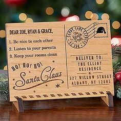 WOW! This engraved wood postcard from Santa is so cool! It would be such a cool way to help the kids believe in the magic of Santa and it also makes a beautiful Christmas decoration that you can have on display! This is the coolest letter from Santa I've ever seen! LOVE it!!!
