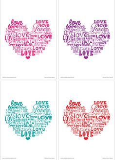 artsy-fartsy mama: {Free Printable} Love Word Art..also has with white font and a solid background
