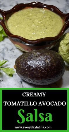 Tomatillos, jalapeños, cilantro and avocado come together to create this spicy . - Tomatillos, jalapeños, cilantro and avocado come together to create this spicy and creamy tomatill - Authentic Mexican Recipes, Mexican Food Recipes, Spicy Mexican Food, Thai Recipes, Spicy Food Recipes, Tomitillo Recipes, Recipies, Diabetic Recipes, Sauce Recipes