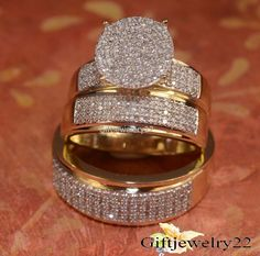 14K Yellow Gold His and Her Diamond Engagement Bridal Wedding Band Trio Ring Set #giftjewelry22
