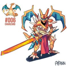 Number 6 - Charizard - Art done by Ay-aan Pokemon Fusion Art, Pokemon Fan Art, Mega Pokemon, Cool Pokemon, Game Character Design, Character Design Inspiration, Character Art, Pokemon Cosplay, Monster Hunter