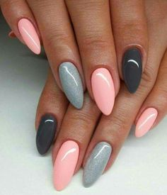 The best ideas for manicure 2018 for long nails - nails art - . - The best ideas for manicure 2018 for long nails – nails art – Be - Natural Nail Designs, Grey Nail Designs, Acrylic Nail Designs, Almond Shape Nails, Almond Acrylic Nails, Cute Nails, Pretty Nails, Nailed It, Gray Nails