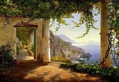 paintings of landscapes | Amalfi Coast Italy Classic Landscape Painting Giclee Art Prints ...