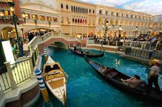 Gondola rides in the Grand Canal Shoppes at the Venetian Hotel.