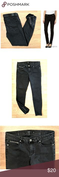 """Harper Skinny Ankle Zip jeans These sexy Harper ankle skinny zip jeans are perfect for any occasion! Charcoal black cotton blend denim with 2% spandex for stretch fit. Zippers on each side pant cuff, skinny leg fit. Traditional 5 pocket style with 5th pocket being a zipper, leather logo tag on back. Size 30, 29"""" inseam, model shows fit only. Dress up or down with flats and tees, sandals and blouses... Possibilities are endless! In EXCELLENT condition NO DAMAGES. Grab yours for less and look…"""