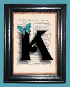 Letter K with Teal Butterfly  Vintage Dictionary by CocoPuffsArt, $9.99