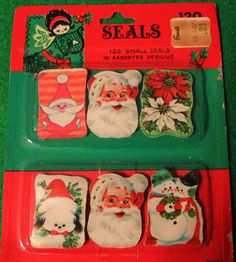 LOT OF 120 VINTAGE CHRISTMAS SEALS STICKERS W. T. GRANT CO. SANTA DOG SNOWMAN