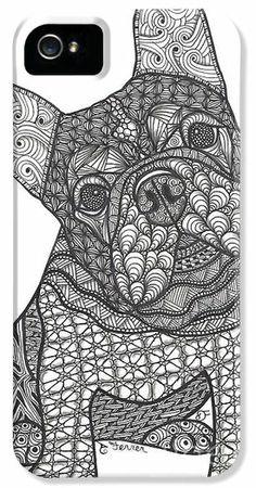 zentangle fish   Zentangle Inspired Art Iphone Cases - Im Listening - French Bulldog ...