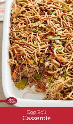 If you can& get enough egg rolls, this is the dinner for you! We& packed all of the goodness of the takeout classic& ginger, cabbage, snow peas and teriyaki sauce& easy-to-make casserole form, topped with the added crunch of Chow Mein noodles. Pork Recipes, Asian Recipes, New Recipes, Chicken Recipes, Dinner Recipes, Cooking Recipes, Favorite Recipes, Healthy Recipes, Ethnic Recipes