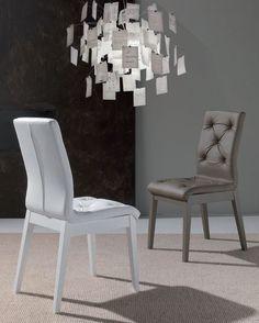 Chaise de salle à manger en polyuréthane design BALZAC, blanche ou taupe (lot de 2), Chaise de