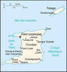 Carte de Trinité-et-Tobago. ◆Trinité-et-Tobago — Wikipédia http://fr.wikipedia.org/wiki/Trinit%C3%A9-et-Tobago #Trinidad_and_Tobago