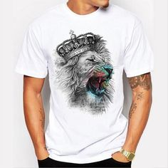 Fashion Men Personality Graffiti Lion Pattern Short - Sleeved T shirt White Casual Tops Funny   <   Time is the one thing you can't buy or buy back  www.planetoutrage.co.uk