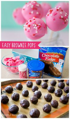 These 3 ingredient brownie pops are the easiest treat for kids ever! Mix and match the colored candy coating and you have a perfect birthday treat! Valentines Cake Pops Recipe, Valentines Treats Easy, Valentines Baking, Valentine Desserts, Valentines Day Desserts, Kids Valentines, Valentine Cupcakes, Birthday Desserts, Sweets