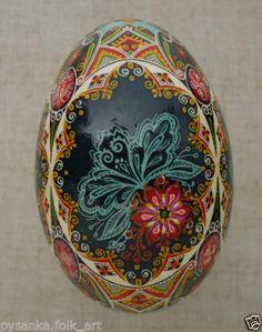 "Ukrainian Pysanka by Oleh K, GOOSE Easter egg Pysanky, height- 3.3"""