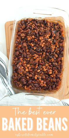 This is the best recipe for baked beans with ground beef! These easy, homemade baked beans have brown sugar and bacon. Serve them at your next BBQ! #recipe #sidedishrecipes #sidedishideas #bakedbeanswithgroundbeef #bakedbeansrecipe #recipeoftheday #recipeswithgroundbeef Steak Side Dishes, Side Dishes For Chicken, Rice Side Dishes, Summer Side Dishes, Healthy Side Dishes, Side Dishes Easy, Vegetable Side Dishes, Side Dish Recipes, Easy Dinner Recipes