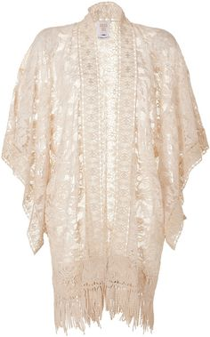 Anna Sui White Mixed Lace Kimono in Cream