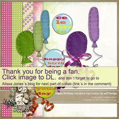 Happy Birthday mini kit freebie from ad77design #scrapbook #digiscrap…