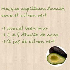 Masque capillaire Avocat, coco et citron vert
