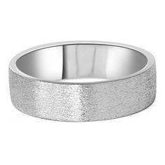 Mens 10K White Gold 6MM Flat Brushed Wedding Band By Pompeii3