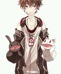 anime boy #brown hair #red eyes #headphones #puppet | ANIME BOYS ...