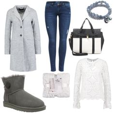 OneOutfitPerDay 2017-02-12 - #ootd #outfit #fashion #oneoutfitperday #fashionblogger #fashionbloggerde #frauenoutfit #herbstoutfit - Frauen Outfit Frühlings Outfit Outfit des Tages Armband Bluse CelinaTex Dorothy Perkins Handtasche Jeans Mantel Nici van Galen ONLY Skinny Vila weiss Wollmantel