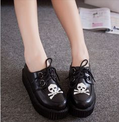 Women's Vintage Skull Lace Up Punk Goth High Platform Flat Creeper Shoes US 7.5