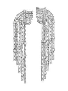 Impreesive Ear Diamond Ear Pendants from Cartier. Each designed as a gradutated series of highly flexible pavé set diamond links, interspersed with collet-set circular cut diamonds, to the geometric motif circular cut diamond surmount, mounted in 18K white gold, length 3 inches. Signed 'Cartier', with French assay marks. Someone from the Philadelphia Flyers should look into purchasing these since they are somewhat reminescence of the Flyers logo.