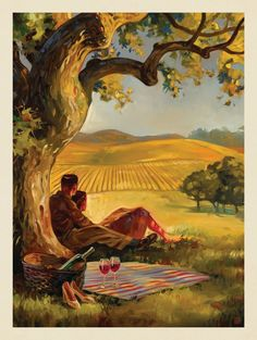 Anderson Design Group – The Kai Carpenter Collection – Oil Painting: Wine Country People Illustration, Hand Illustration, Country Wall Art, Country Paintings, Soul Art, Vintage Wall Art, Vintage Travel Posters, Illustrations And Posters, Wine Country