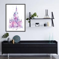 INSTANT DOWNLOAD- watercolor castle poster, home decor poster, baby room poster, digital file, disney castle watercolor poster, Kids room Only $2.50  #ad #homedecor #printable