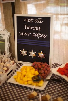Not all heroes wear capes sign at a Police Party! See more party ideas at… Birthday Dinners, 6th Birthday Parties, Grad Parties, 4th Birthday, Birthday Ideas, Birthday Recipes, Birthday Crafts, Police Retirement Party, Retirement Parties