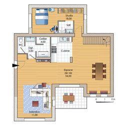 """résultat de recherche d'images pour """"plan maison 1 chambre"""