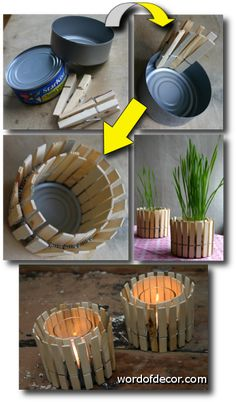 DIY: EZ Mini-Planter - LPC Survival Mini planter or rustic candleholder - Made from a tuna tin & clothes pins! It's so easy that it doesn't need any words to instruct you on how to build it. Tin Can Crafts, Craft Stick Crafts, Crafts To Make, Home Crafts, Fun Crafts, Arts And Crafts, Clothespin Crafts, Decor Crafts, Easy Projects