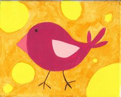 Sweet Tweets Collection for baby nursery - Magenta Birdie with saffron yellow/orange background.