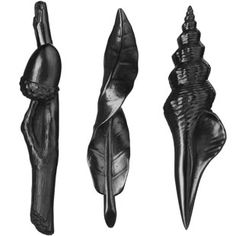 Graphite objects: Acorn, Spindle Shell & Twisting Leaf (Set of three) designer: Agelio Batle design year: 2008 manufacturer: Batle Studio, USA materials: cast graphite notes: Set includes three different cast graphite objects to be used as writing instruments, chosen by sculptor Agelio Batle for their mystical qualities.