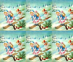 retro merry Christmas angels cherubs winter snow alps mountain alpine hills skis skiing trees forests squirrels rabbits mistletoe toys gifts presents fabric by raveneve on Spoonflower - custom fabric