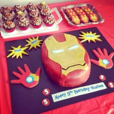 Ironman Birthday Party with Ironman Themed Cake and Cookies