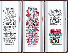 LOVE - Bible journaling printable templates, instant download illustrated christian faith bookmarks, black and white prayer journal bible verse traceable stencils, bible stickers.  ♥ Matthew 22:37 You shall love the Lord your God with all your heart... ♥ Psalm 18:1 I will love You, O Lord, my strength ♥ 1 John 4:8 He who does not love does not know God, for God is love ♥ 1 John 3:18 Let us not love in word or in tongue, but in deed and in truth ♥ Proverbs 10:12 Love covers all sins ♥…