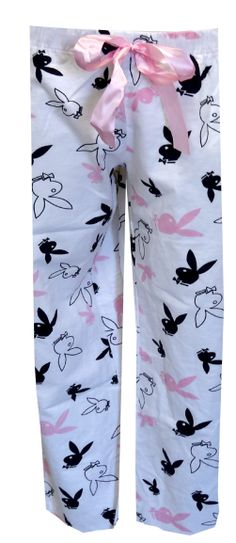 Clasic Playboy Bunny Heads White Flannel Lounge Pants  These are awesome!  A classic version of a classic favorite! These lounge pants for women feature Playboy Rabbitheads in an all-over print on a white flannel background. Pants have a pretty light pink satin drawstring tie and elastic waist, as well as pink satin lining inside the waistband for that extra special hint of glamour. Junior cut. $20