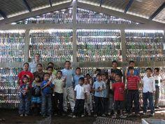 Guatemalan Schools Built from Bottles, Not Bricks Plastic Bottle School's A Cheap Alternative in Guatemala Countryside Village, Bottle House, Guatemala, School Building, Plastic Bottles, Green Colors, Brick, Alternative, Classroom