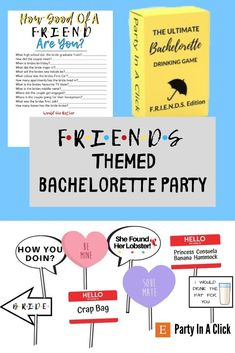 Friends Themed Bachelorette Package, She Found Her Lobster Banner, Bachelorette Drinking Games, Friends Theme Food Label, Photo Booth Props Bachelorette Drinking Games, Hawiian Party, Fun Group Games, Hot Wheels Party, Bachelorette Decorations, Bridal Shower Party, Get The Party Started, Friends Tv Show, Food Labels