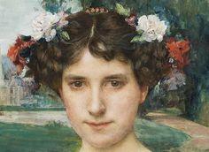Edgar Maxence (French artist, 1871-1954) detail Portrait de femme à la couronne de fleurs